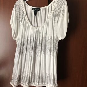 Inc petite medium white and silver blouse